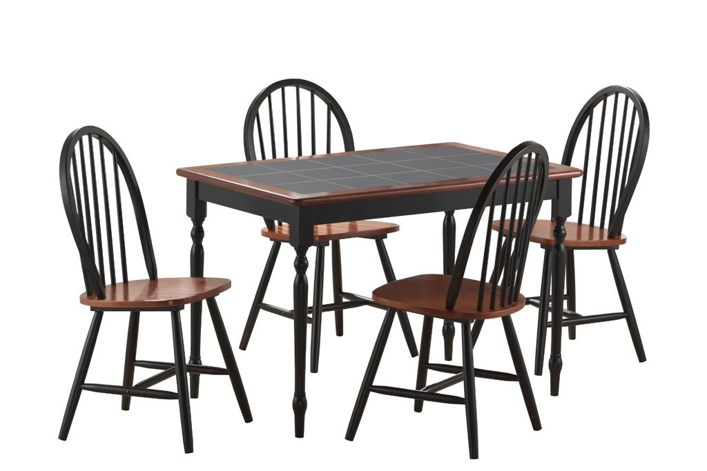 Amazon.com   5 Pc Tile Top Dining Set In Black And Cherry Finish   Table U0026  Chair Sets Part 64