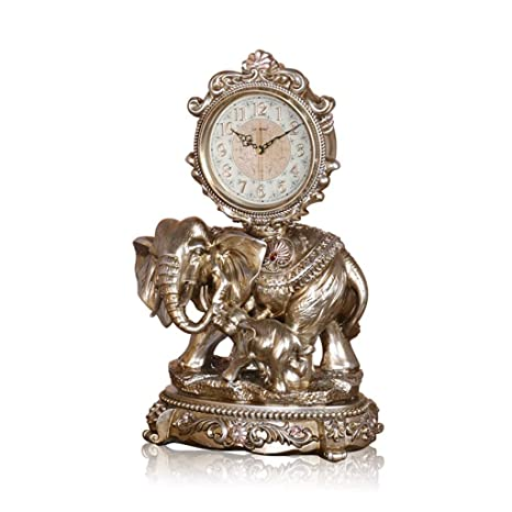 Amazon.com: Family Fireplace Clocks Desktop Watch Tablecloth Clocks Living Room Mute Resin Landing Clock Elephant Suitable for Living Room Office Bedroom: ...