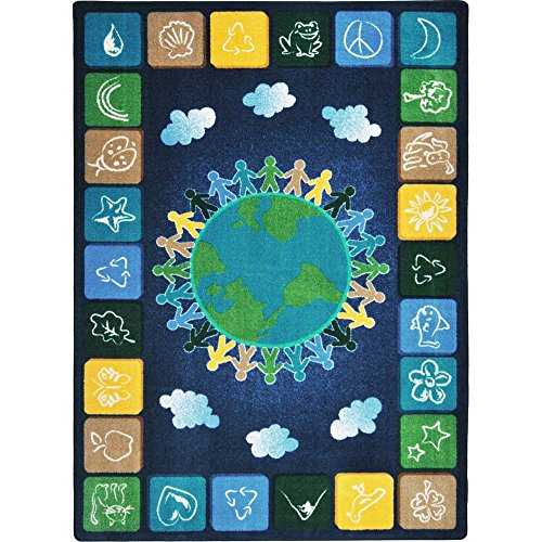 Joy Carpets Kid Essentials Geography & Environment One World Rug, Neutrals, 7'8'' x 10'9'' by Joy Carpets