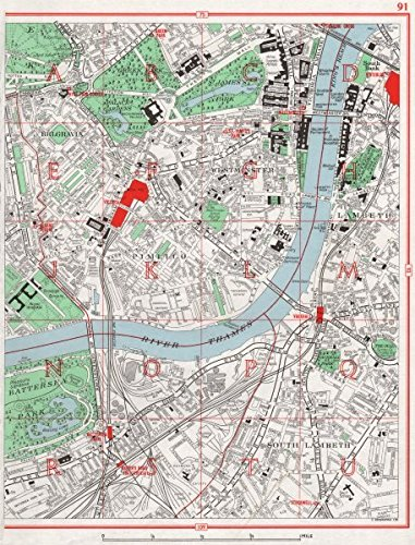 WESTMINSTER. Belgravia Pimlico Lambeth Battersea Park Sloane Square - 1964 - old antique vintage map - printed maps of London Antiqua Print Gallery