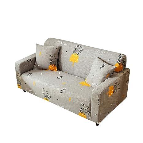 Funda para sofá elástica, antideslizante, estampado de plumas y flores moderno y simple, de 1/2/3/4 plazas, protector para mascotas, zorro, 3-Seater ...