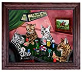 Home of Bengal Cats 4 Dogs Playing Poker Framed Canvas Print Wall Art (24x36, Walnut)