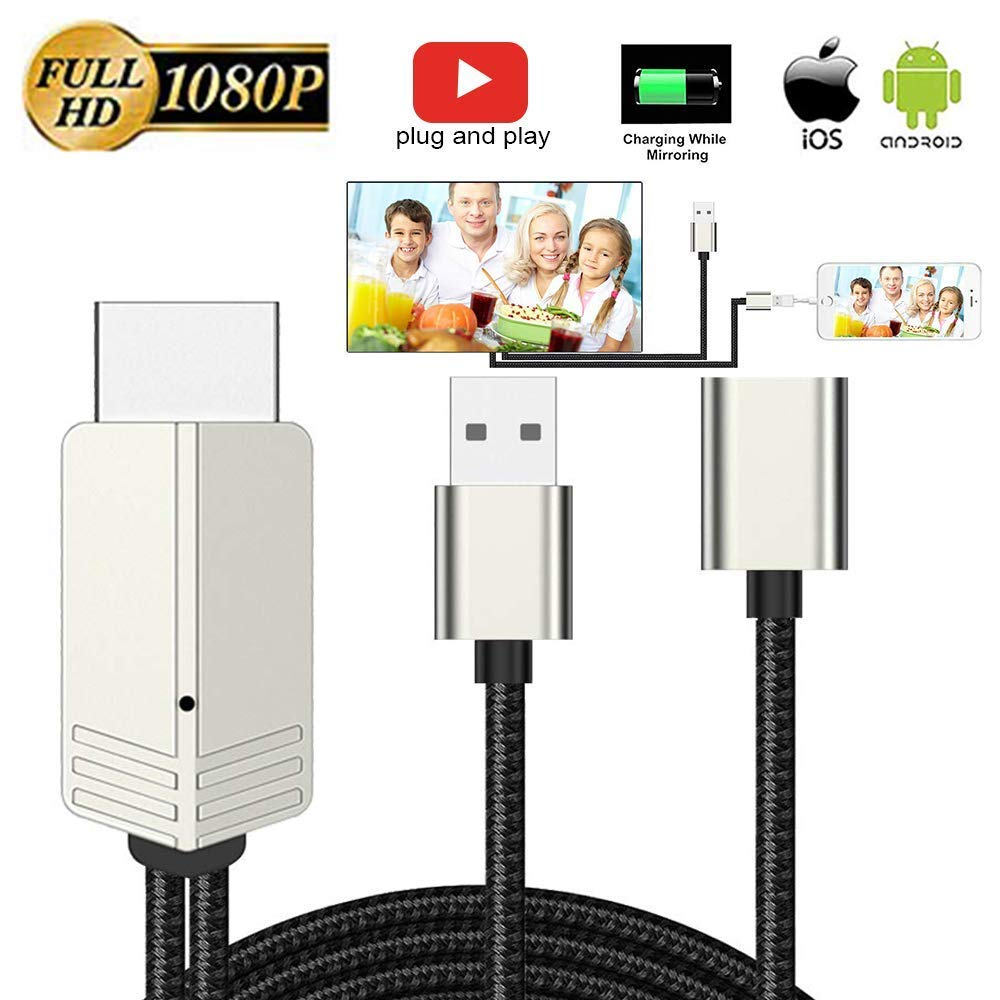 DIWUER Compatible with iPhone iPad Android Phones to HDMI Cable 6.6ft, 1080P Supported Digital AV Adapter for iPhone Xs Max XR X 8 7 6, iPad, Samsung Huawei to TV, Projector, Monitor