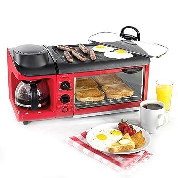 GRASSAIR 220V Multifunción 3-En-1 Máquina De Desayuno 600W Cafetera + 700W Teppanyaki + Horno De 900W Pan Fabricante De Pan Tostadora/Huevo Frito/Cocina De ...