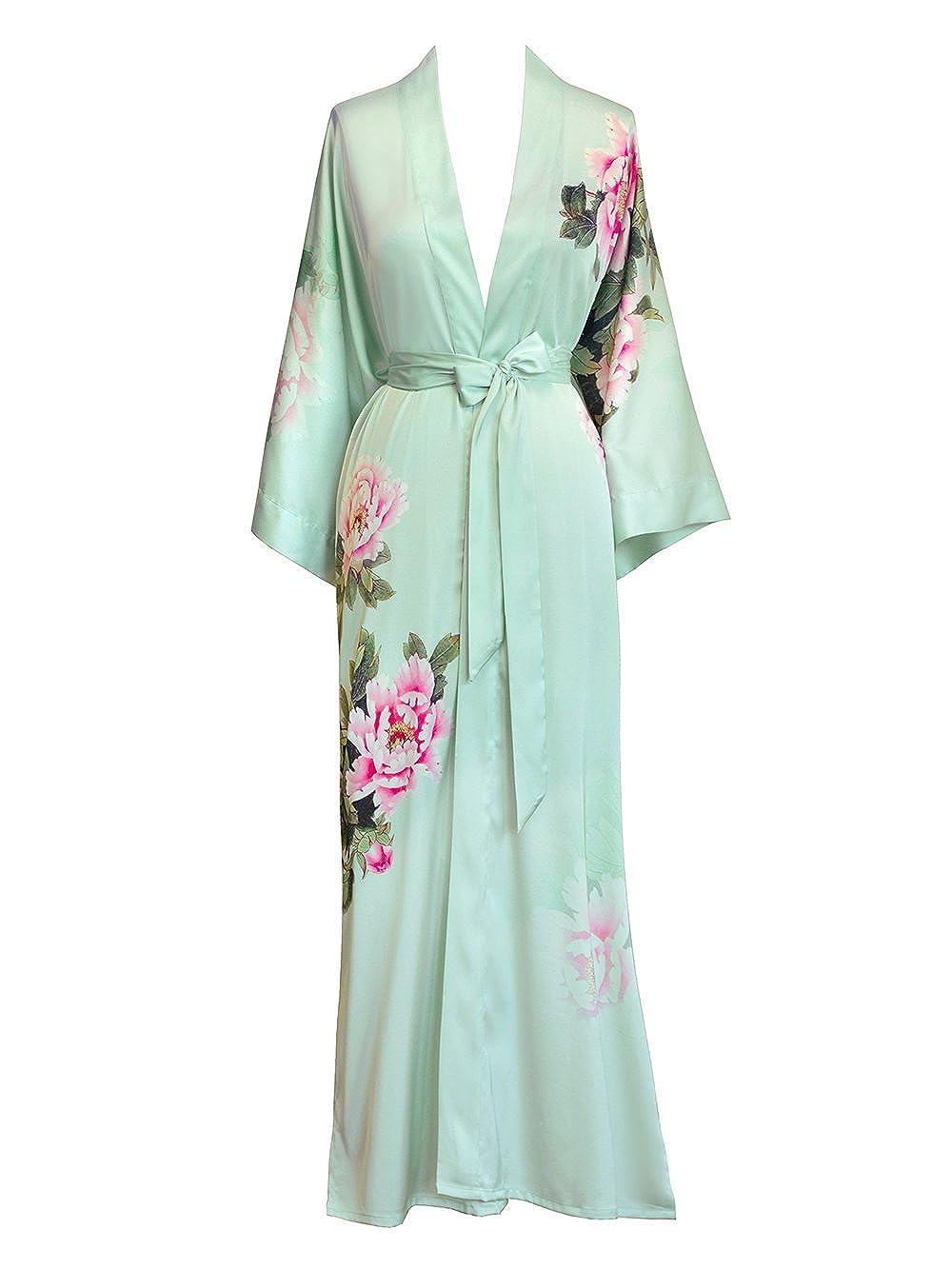 Peony & Bird Celedon Old Shanghai Women's Kimono Robe Long  Watercolor Floral