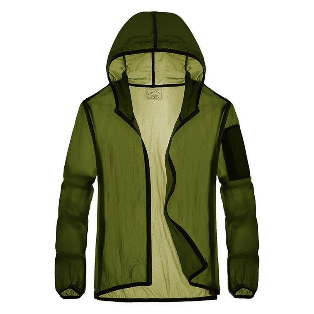 Men'sArmyGreen Large Lightweight Jacket Spring Summer, Anti UV Sun Predection Men Women Breathable Quick Dry Outdoor Sport Jackets Fishing Running Cycling Waterproof Clothing