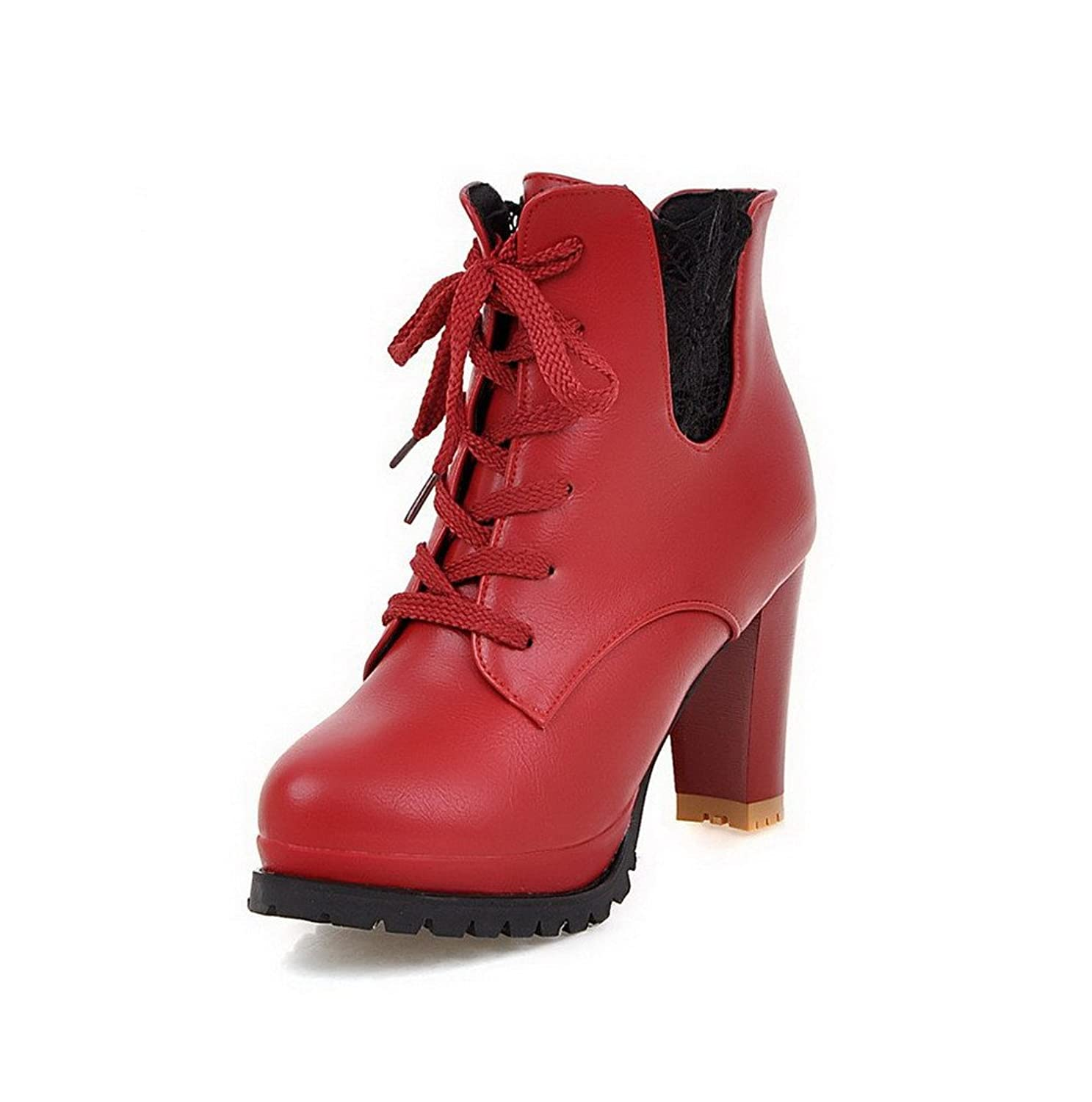 AllhqFashion Women's Low-top Solid Lace-up Round Closed Toe High-Heels Boots