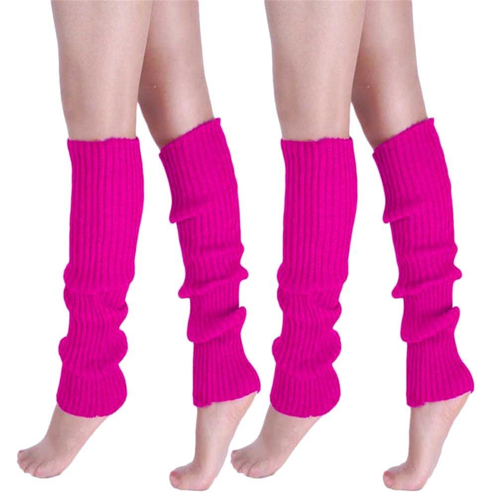Girls Teen 80s Dance Plain Ribbed Women Knit Crochet Long Leg Warmers Fancy Dress