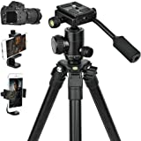 Abithid Portable Dslr Camera Tripod, Phone Adapter Stand, Ultra Compact And Lightweight Travel Tripods with 360°Panorama Ball Head, Bubble Level And Bag For Travel Work Video Dslr Camera and Phone