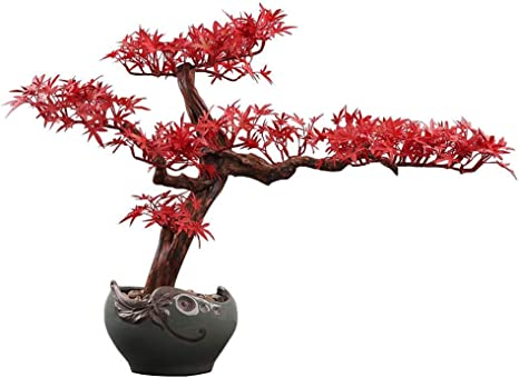 Amazon Com Artificial Bonsai Tree Creative Chinese Style Root Carving Crafts Ornaments Zen Artificial Red Maple Fake Bonsai Home Decoration Ceramic Flower Pot Artificial Potted Artificial Tree Artificial Bonsa Home Kitchen