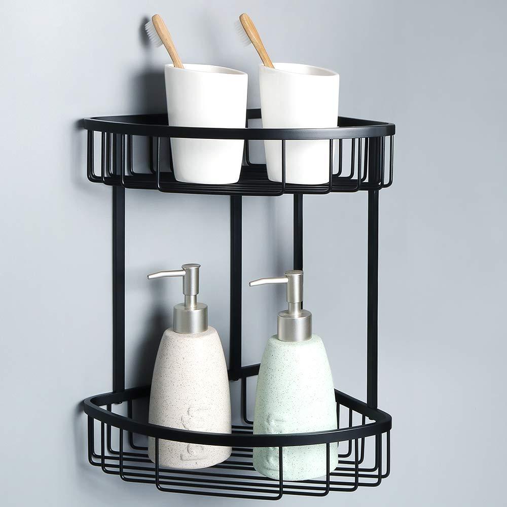 Alise G7162-B SUS304 Stainless Steel Bathroom Shower Caddy 2-Tier Corner Basket Storage Shampoo Conditioner Soap-Satin Wall Mount,Matte Black