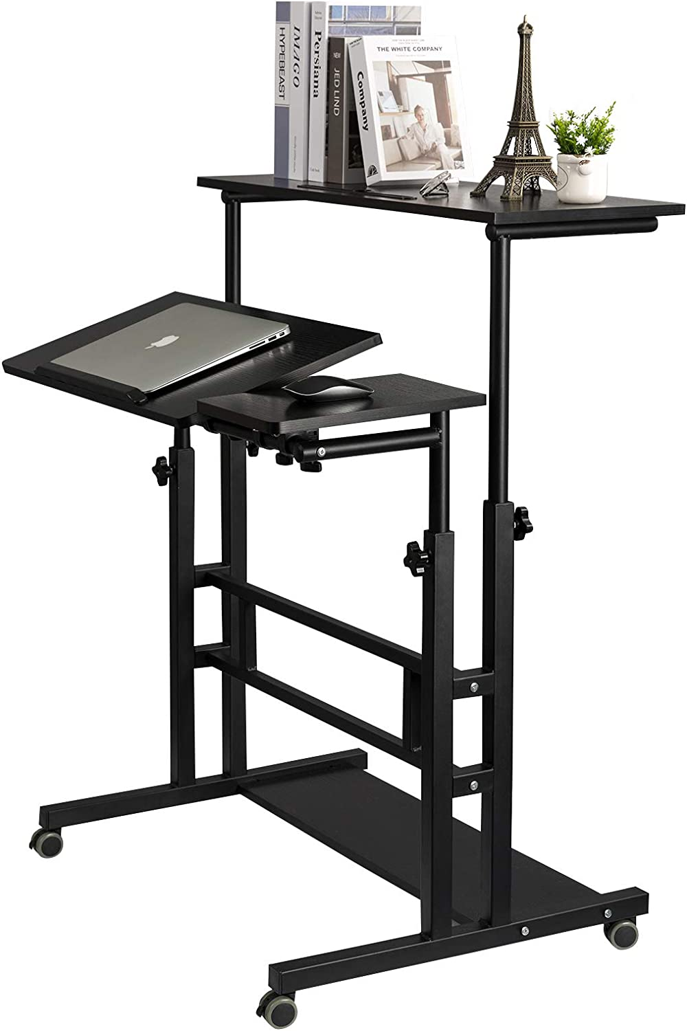SIDUCAL Mobile Standing Desk, Rolling Ajustable Computer Desk, Mobile Computer Workstation Adjustable Desks for Home Office for Stand Up, Black