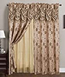RT Designers Collection Kelly Jacquard 54 x 84 in. Double Rod Pocket Curtain Panel w/ Attached 18 in. Valance, Taupe