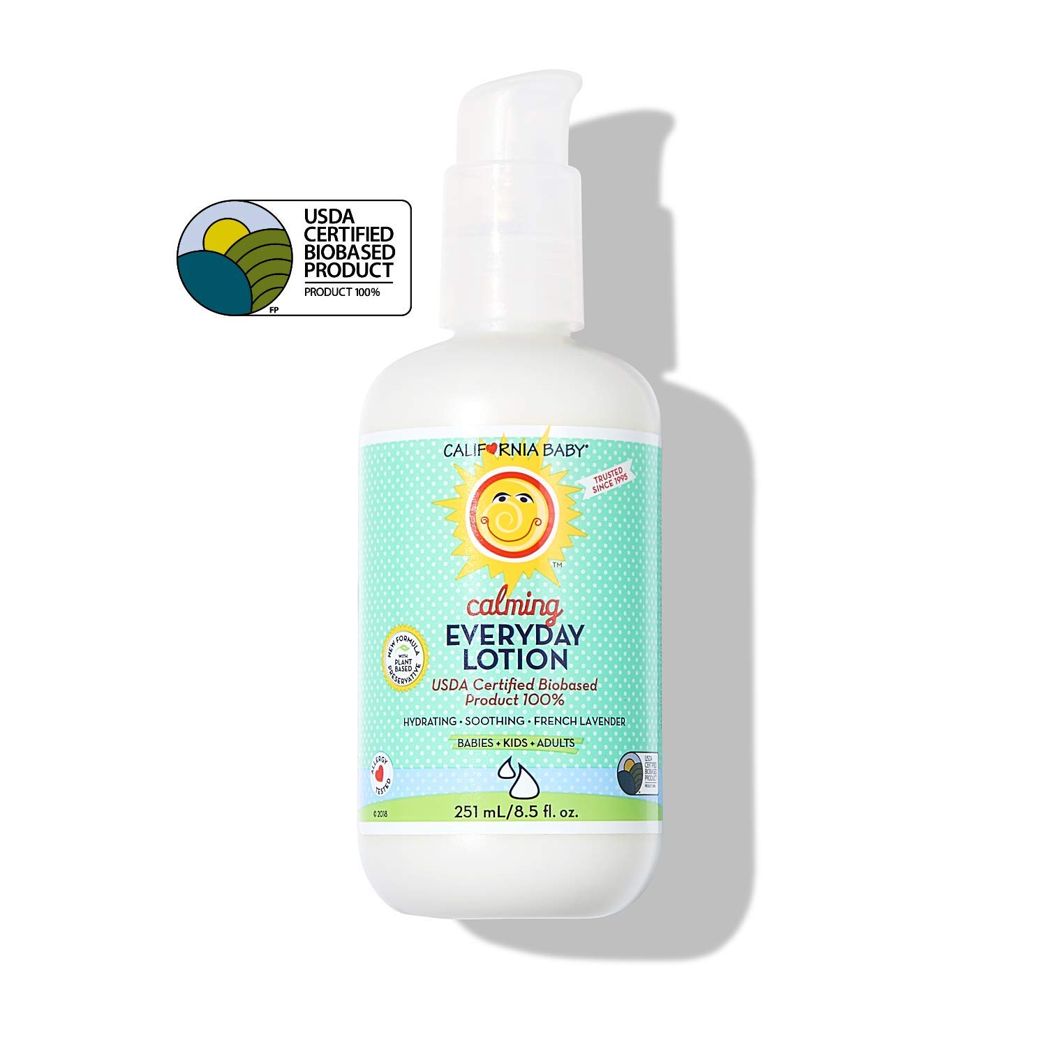 California Baby Calming Everyday Lotion (8.5 Ounces) | 100% Plant-based (excludes water) | Moisturizer for Dry, Sensitive Skin | Post Bath and Diaper Changing