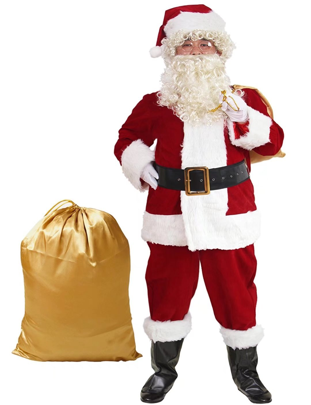 10 Pcs Complete Deluxe Velvet Christmas Santa Claus Costume Suit Adult (XL, Red) by Zollzirr (Image #2)
