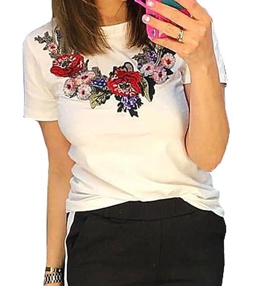 Verano Mujer Blusa Casual Cuello Redondo Manga Corta Tops Camisetas Moda Delgado Bordado Remata Camisas