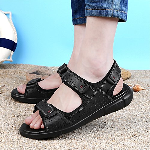 Sandali antiscivolo uomo con regolabili estivi aperta da sandali Black Xiaoqin punta casual Fqxw46vd