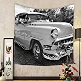 Gzhihine Custom tapestry Vintage Tapestry 50s 60s Retro Classic Pin Up Style Cars in Hollywood Movies Image Artwork for Bedroom Living Room Dorm 80WX60L Black White and Gray
