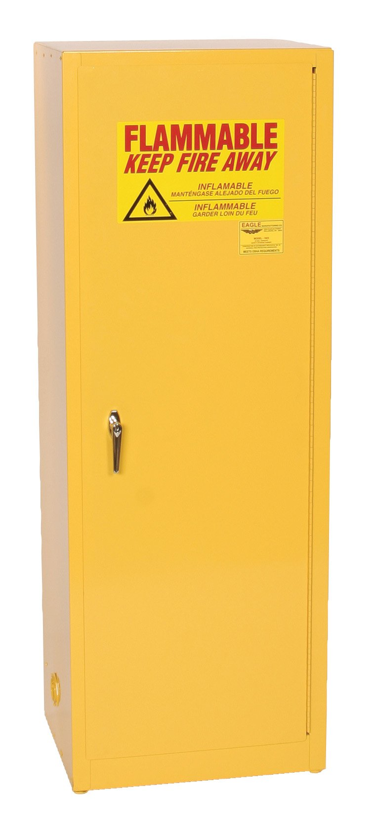 Eagle 2310 Safety Cabinet for Flammable Liquids, 1 Door Self Close, 24 gallon, 65''Height, 23''Width, 18''Depth, Steel, Yellow