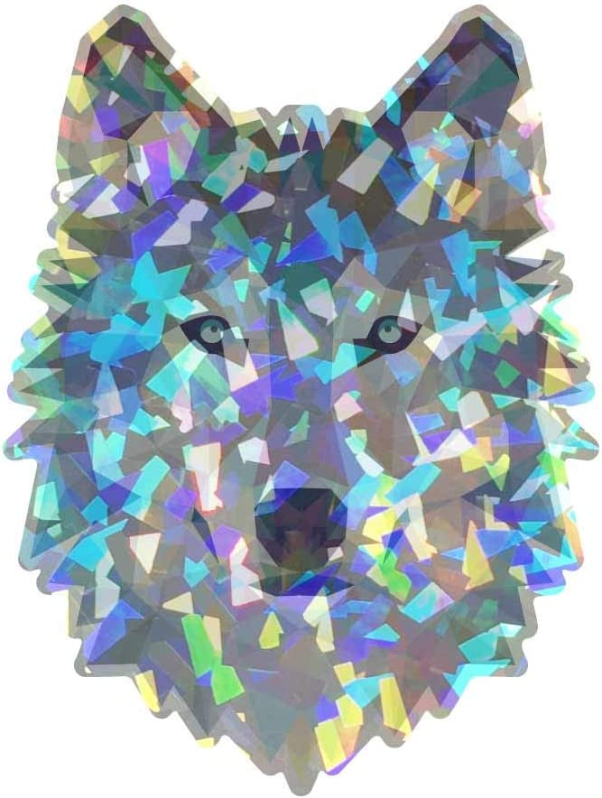 Cars and More 4in Dark Spark Decals Low Poly Geometric Blue Ice Wolf Laptops Windows D/écor Full Color Vinyl Decal for Indoor or Outdoor use