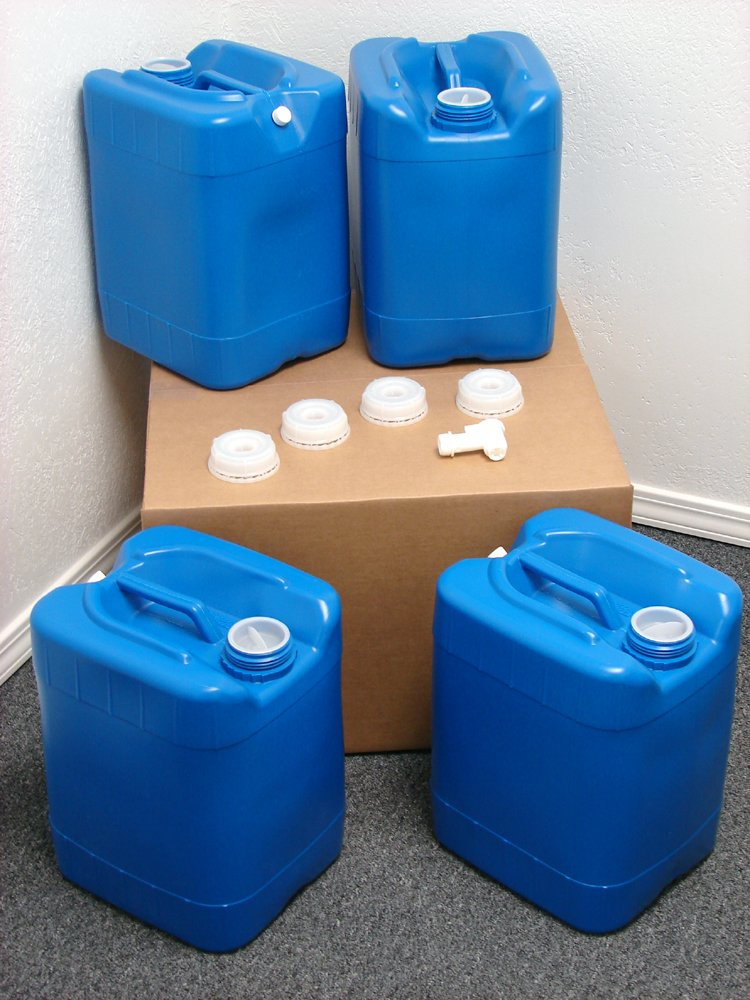 API Kirk Containers 5 Gallon Samson Stackers, Blue, 4 Pack (20 Gallons), Emergency Water Storage Kit Clean! - Boxed! - Free Spigot Cap Wrench! by API Kirk Containers
