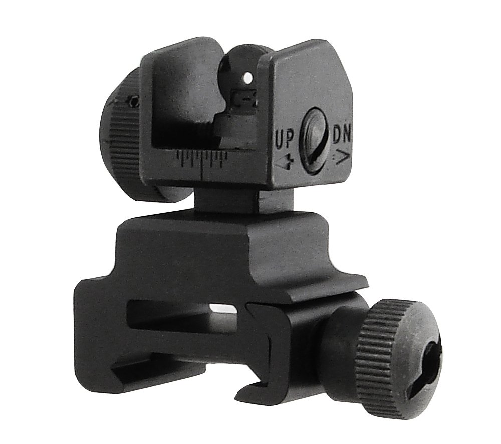 UTG Model 4/15 Flip Up Rear Sight - Mira para airsoft, color negro MNT-951
