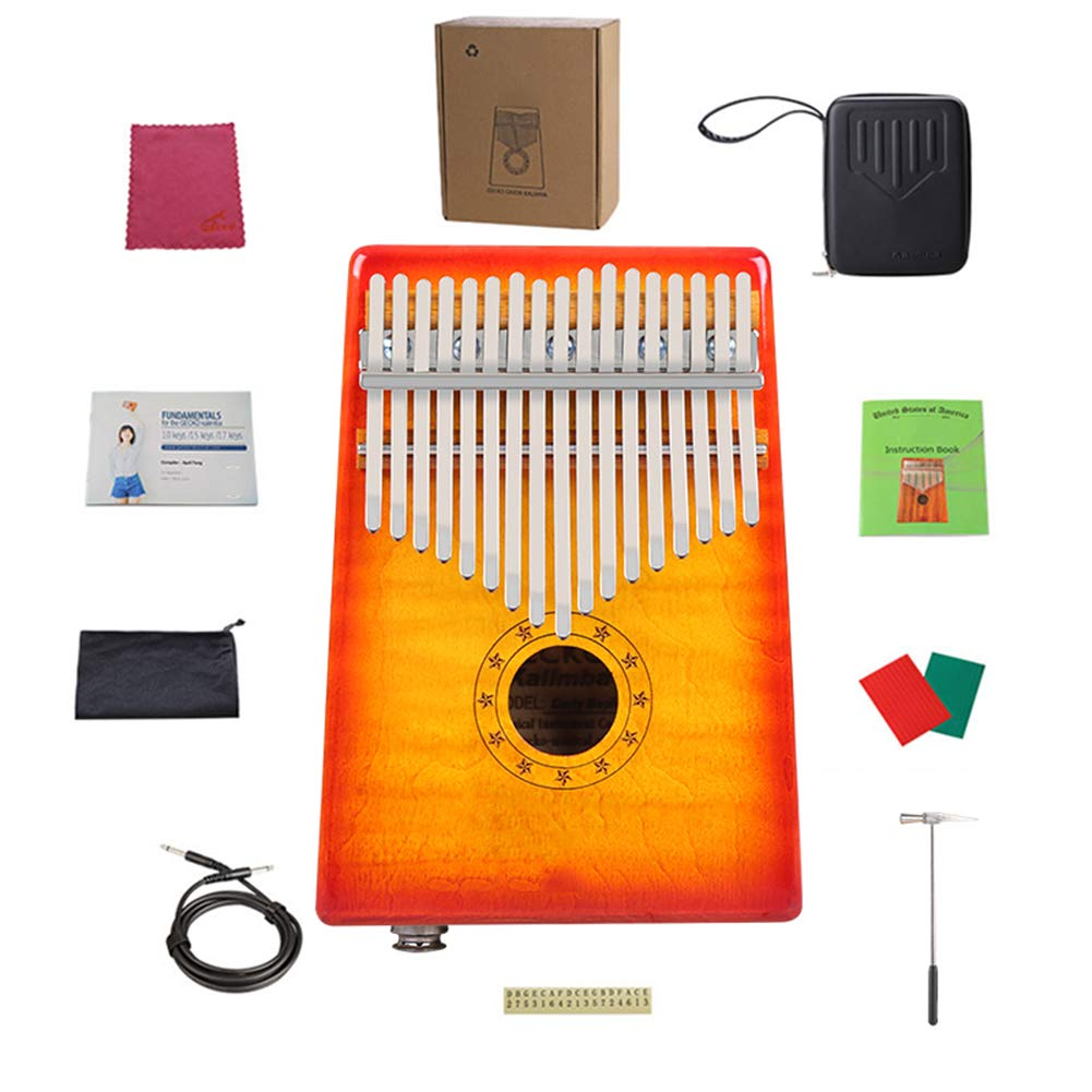 MG.QING Kalimba 17-Key Curly Maple Thumb Piano Built-in EVA Gigh Performance Protection with Pickup,Yellow by MG.QING