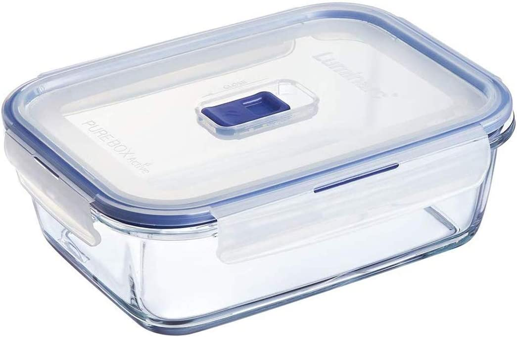 Luminarc Pure Box Active Glass Food Storage Container with Sliding Vent Lid (Rect 8.3 Cups / 2L)