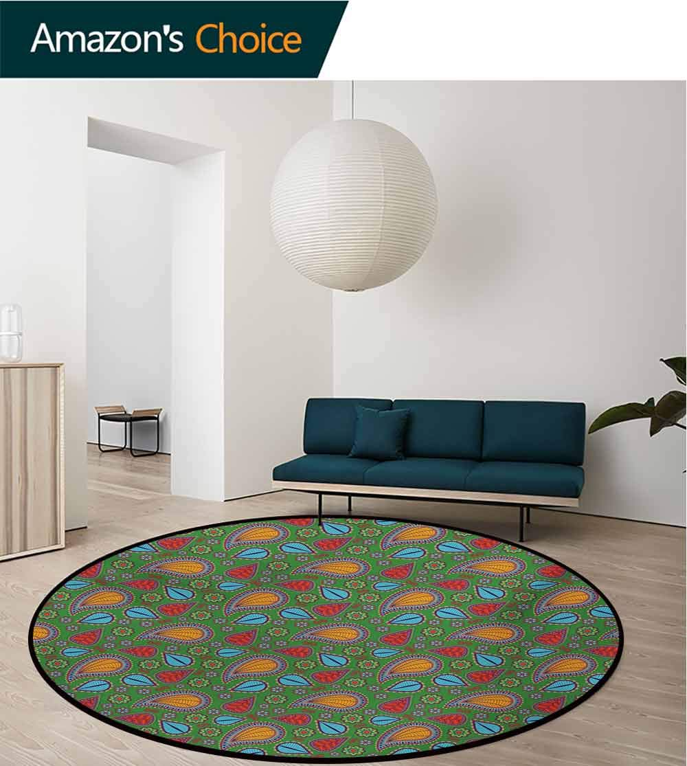 RUGSMAT Ethnic Modern Washable Round Bath Mat,Ethnic Image with Swirls Floral Details Paisley Design Fern Green Backdrop Non-Slip Bathroom Soft Floor Mat Home Decor,Round-31 Inch Orange Blue and Red