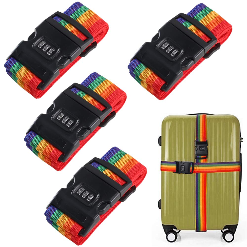 Luggage Straps FJSM 4 Pack Suitcase Lock Belt Strap Heavy Duty Luggage Straps Rainbow Color Adjustable Suitcase Belts For Traveling Business Trip