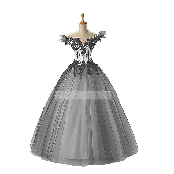 Kivary® Women\'s White and Black Gothic Wedding Dresses Ball Gown ...
