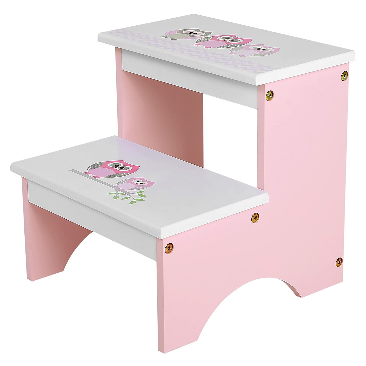 SONGMICS Children Step Stool, Wood Bed Steps for Kids, Owl Theme in Bathroom Closet Kitchen Toilet Pink White ULKF02PK