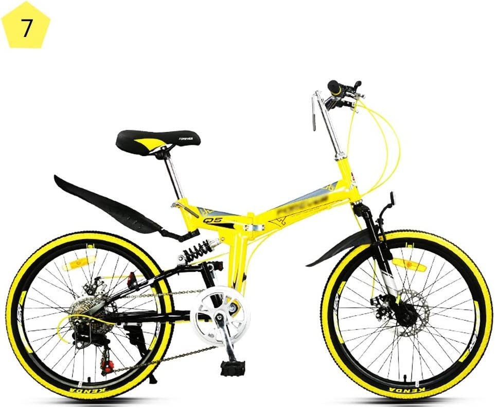 Paseo Bici De Montaña Plegable Exterior Viajes Ciclo De La Bicicleta Hombres Y Mujeres Velocidad Ultraligero Marco Portátil Alta De Acero Al Carbono De Bicicletas (Color : Yellow, Size : 22inches)