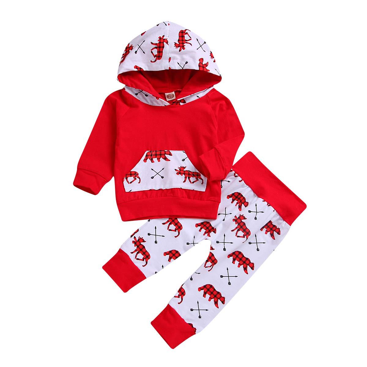 HappyMA PANTS ユニセックスベビー 0 - 6 Months Red & Hoddie B07KVXZLWF