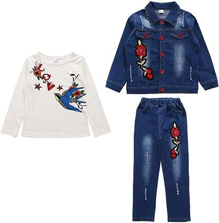 Conjunto de ropa de pantalones de mezclilla para niñas Los conjuntos de ropa de mezclilla informal
