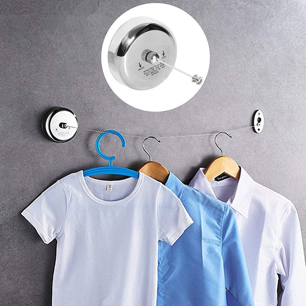 Retractable Clothes Line Stainless Steel Adjustbale Washing Line Compact Drying Line for Shower Room Bathroom Laundry Hotel