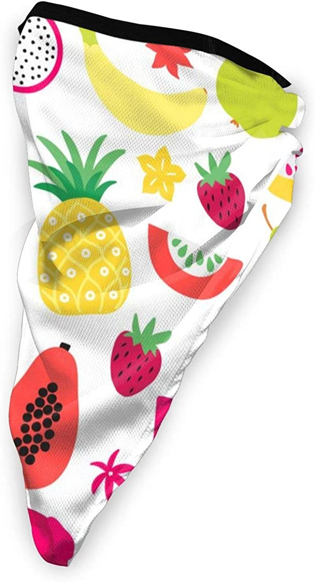 Wind-Resistant Face Mask/& Neck Gaiter,Balaclava Ski Masks,Breathable Tactical Hood,Windproof Face Warmer for Running,Motorcycling,Hiking-Tutti Frutti Colorful Tropical Fruit Large