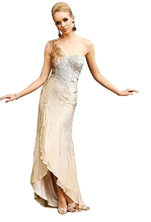 Terani Couture Sequin Prom Dress 629 - Gold -