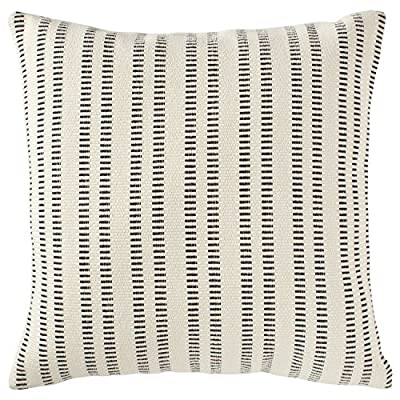 """Stone & Beam French Laundry Pillow, 17"""" x 17"""", Ivory, Black - This pillow features a timeless style with just the right mix of refined and casual touches. Rust-color stripes on an ivory background are yarn-dyed for lasting color, while the fabric's texture and weight gives it a substantial, durable feel. Traditional French Laundry style is refined yet relaxed Cover is cotton/polyeser/acrylic blend; stripes on front and back - living-room-soft-furnishings, living-room, decorative-pillows - 61gasY5Y28L. SS400  -"""
