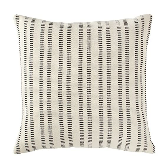 "Stone & Beam French Laundry Pillow, 17"" x 17"", Ivory, Black - This pillow features a timeless style with just the right mix of refined and casual touches. Rust-color stripes on an ivory background are yarn-dyed for lasting color, while the fabric's texture and weight gives it a substantial, durable feel. Traditional French Laundry style is refined yet relaxed Cover is cotton/polyeser/acrylic blend; stripes on front and back - living-room-soft-furnishings, living-room, decorative-pillows - 61gasY5Y28L. SS570  -"