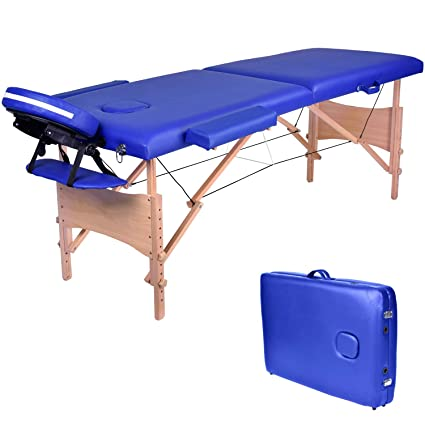 Wellhome Lettino Da Massaggio 2 Zone Legno Pieghevole Portatile