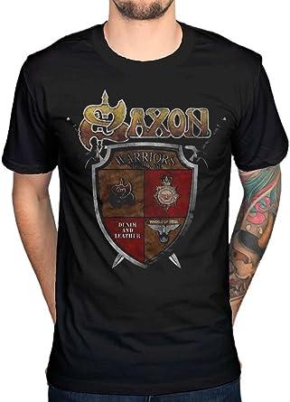 Saxon Est 1979 Heavy Metal Rock Biff Byford - Camiseta oficial Negro Negro (S: Amazon.es: Ropa y accesorios