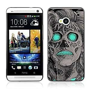A-type Arte & diseño plástico duro Fundas Cover Cubre Hard Case Cover para HTC One (M7) ( Cráneo de neón de la vendimia )