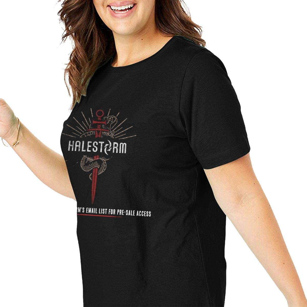 Bonnie D Erhart Halestorm Womens Popular Short Sleeve Plus Size Cotton Short Sleeve O-Neck Shirts Black