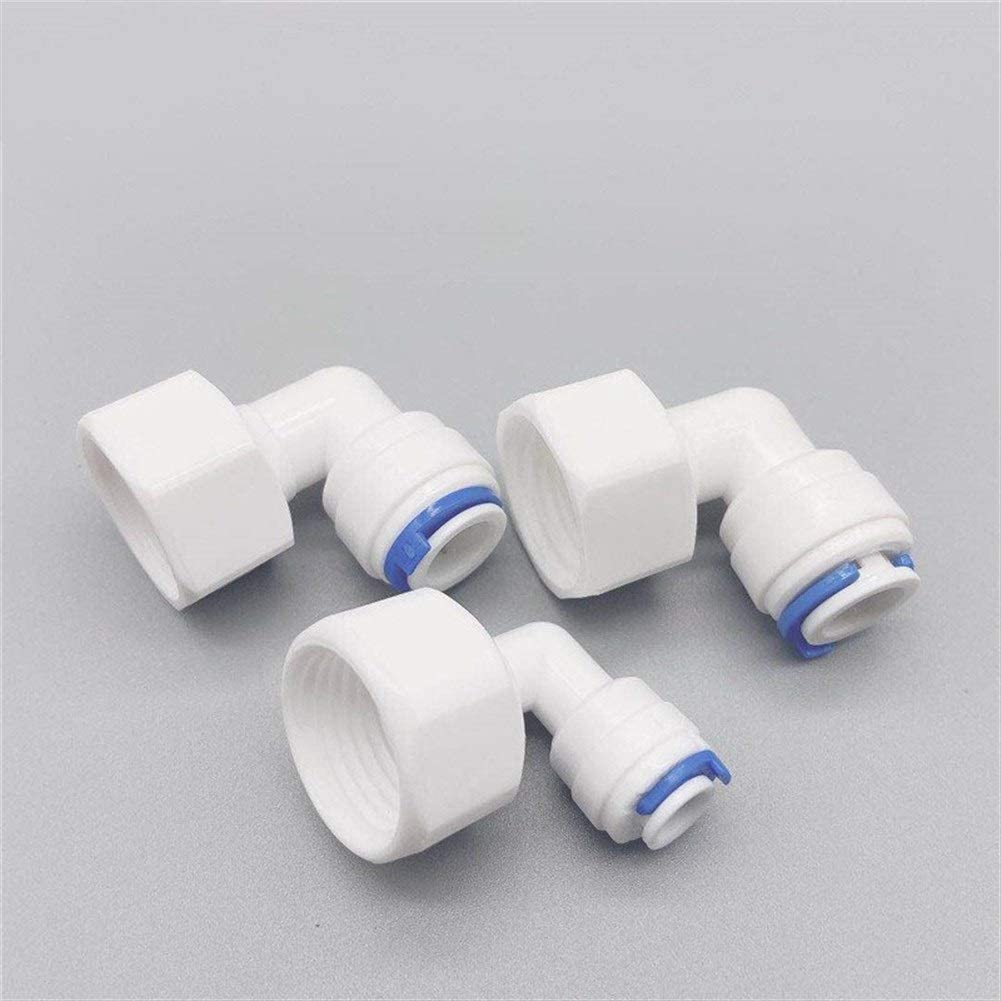 10pcs RO Water Fitting Elbow 1//4 3//8 OD Hose 1//4 1//2 1//8 BSP Female Thread Plastic Pipe Quick Osmose Reversa Aquario Connector Size : For 6.35mm OD Hose, Thread Specification : 18