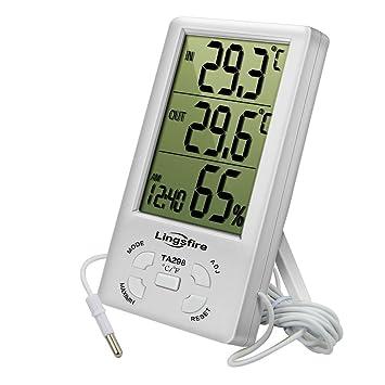 Lingsfire Digital LCD Interior/exterior termómetro higrómetro con máximo/mínimo Temperatura y Humedad valores, con reloj y alarma para interior y exterior ...