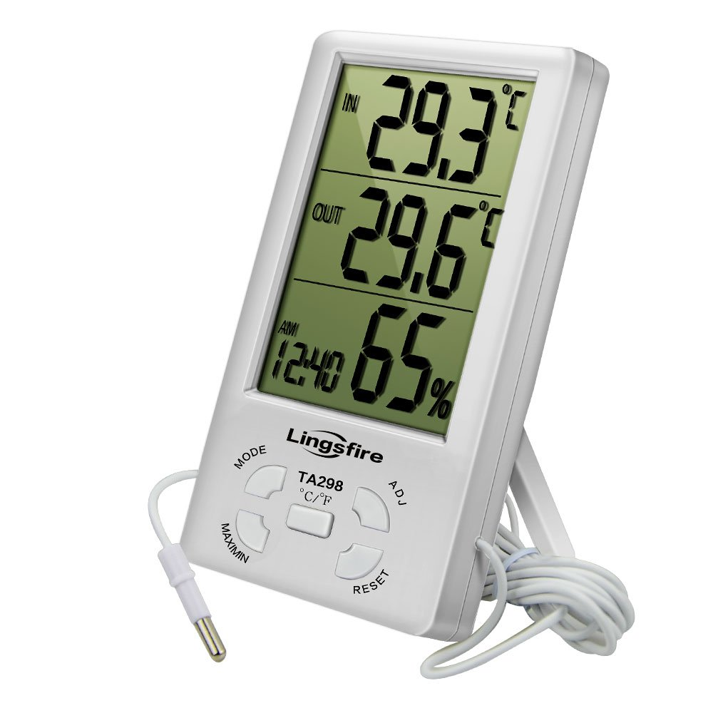LingsFire Digital LCD Indoor/Outdoor Thermometer Humidity Hygrometer With Min/ Max Value And Clock (TA298) by LingsFire