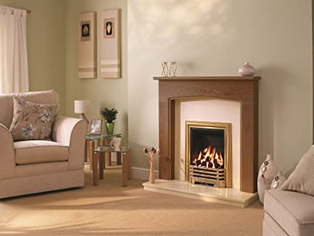 Be Modern 0614092 Tudor 46 Inch Warm Oak Finish Surround With Marfil