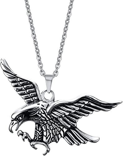 Stainless Steel Flying Eagle Pendant Necklace Hip Hop Punk Statement Necklace Antique Silver Color Bird Animal Jewelry