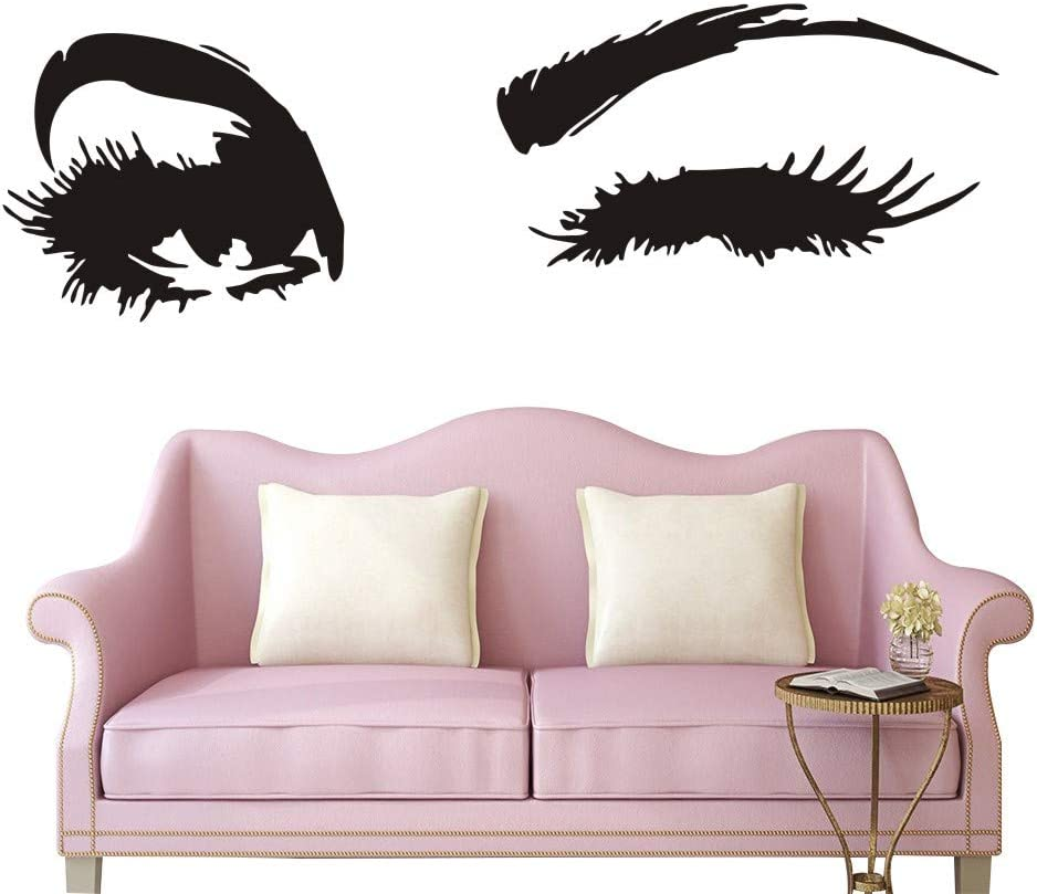 Wall Decal Beautiful Big Eye Lashes Home Decoratoin Vinyl Bedroom Art Decor Wall Sticker Women Beautiful Eyes Interior Design Bedroom Sticker Mural YO-94 (Black, 40X122CM)